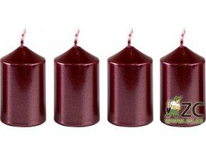 Svíčka adventní 40 x 60 mm  4 ks - metalická bordó
