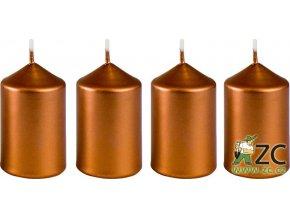 Svíčka adventní 40 x 60 mm  4 ks - metalická bronz