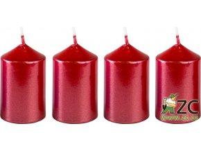 Svíčka adventní 40 x 60 mm  4 ks - metalická červená