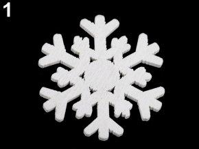 Dekorace - dřevěná vločka bílá, šedá  Ø 36 mm