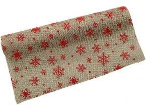 Jutová role - vánoční 28 cm x 3 m - natur/červená