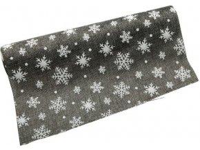 Jutová role - vánoční 28 cm x 3 m - šedá/bílá