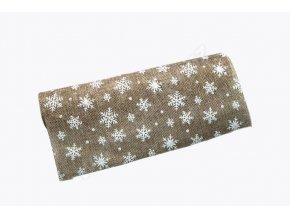 Jutová role - vánoční 28 cm x 3 m, natur/bílá