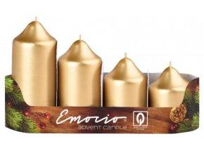 Svíčka adventní schody 4 ks  - metalická zlatá