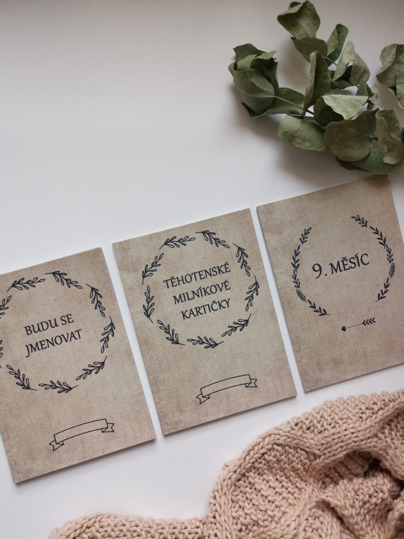 Těhotenské milníkové kartičky RUSTIC