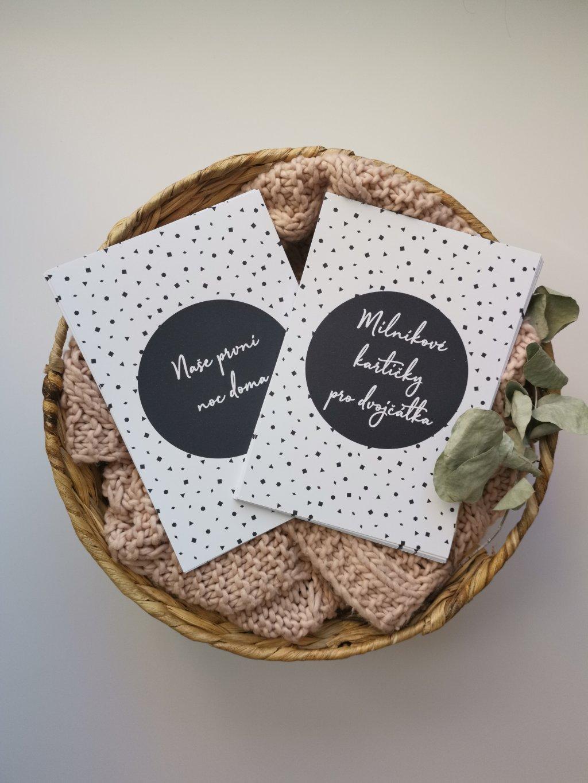 Milníkové kartičky ČERNOBÍLÝ PUNTÍK pro dvojčátka