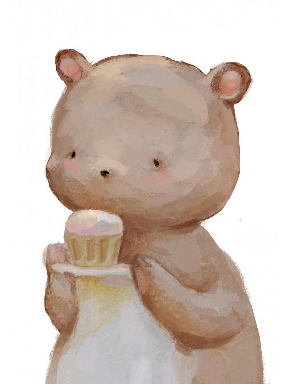 Plakát medvídek s cupcakem