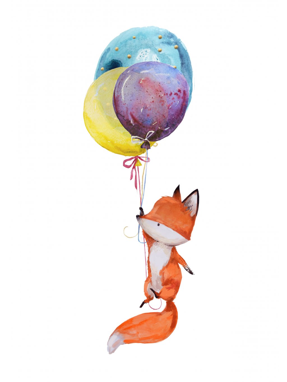 Plakát lišák s balónky