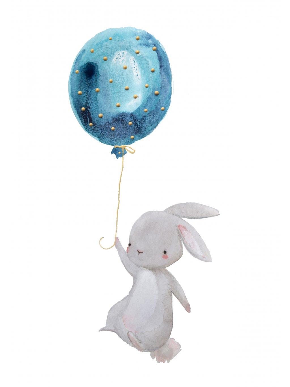 Plakát zajíc s balónkem