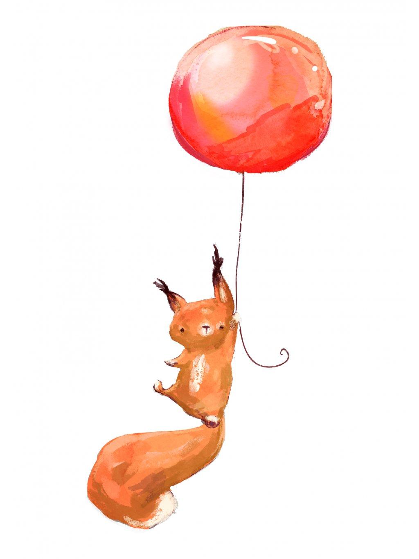 veverka s balonkem