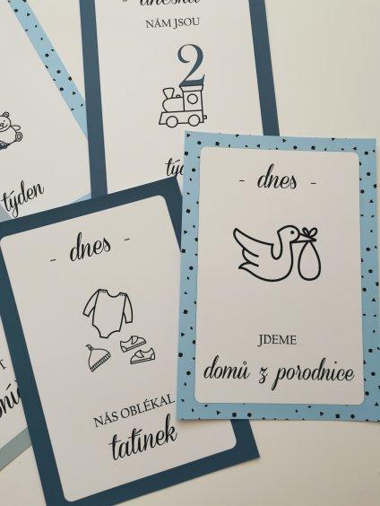 Milníkové kartičky MODRÝ SEN pro dvojčátka