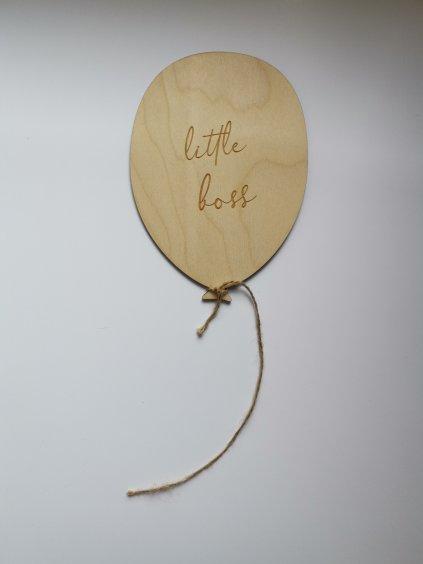 """Dřevěný balónek s nápisem """"Little boss"""""""