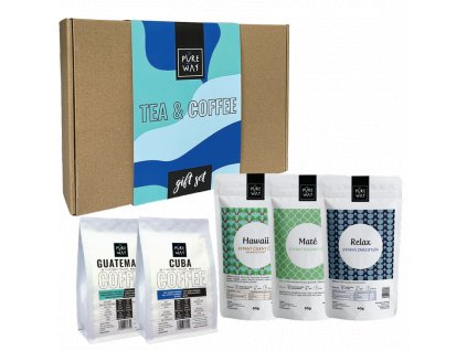Pureway tea and coffee gift set modry obsah