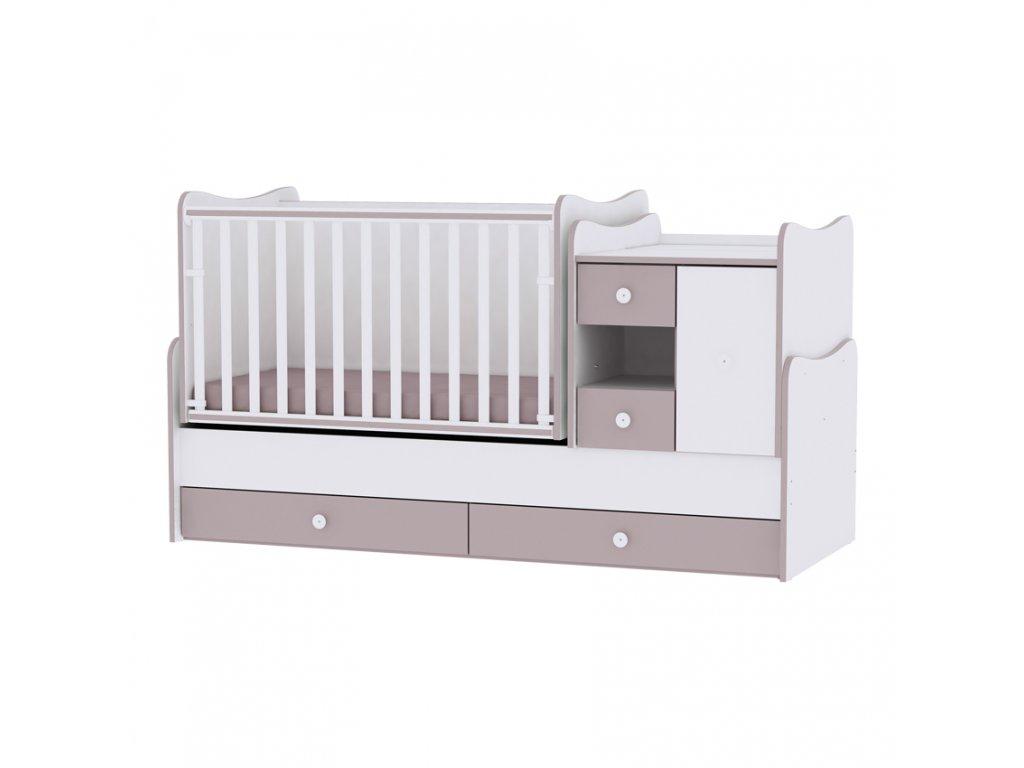Multifunkční dětská postýlka Lorelli MINIMAX NEW 190x72 CM WHITE/CAPPUCCINO