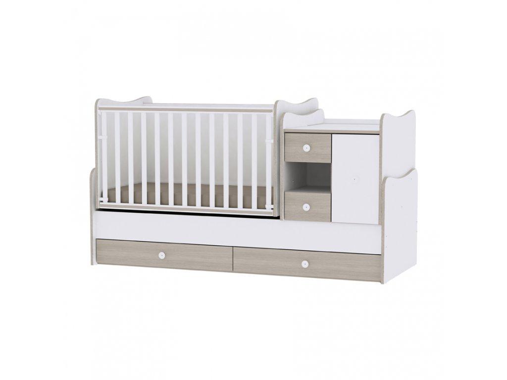 Multifunkční dětská postýlka Lorelli MINI MAX New 190x72 WHITE/AMBER