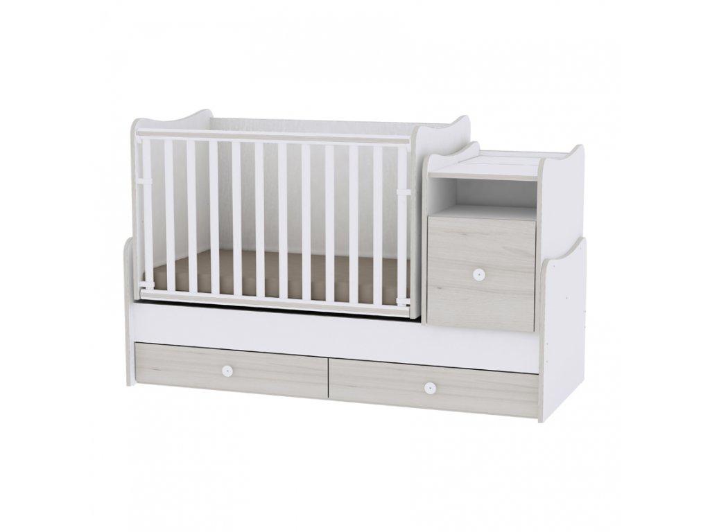 Multifunkční dětská postýlka Lorelli TREND PLUS NEW WHITE/LIGHT OAK