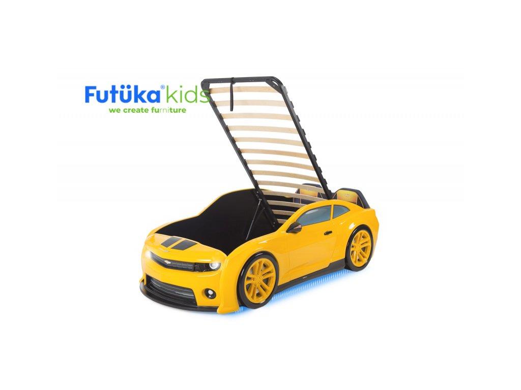 Postýlka auto EVO CAMARO žlutá, Zvedací mechanismus, LED světla, Spodní světlo, Měkké čelo