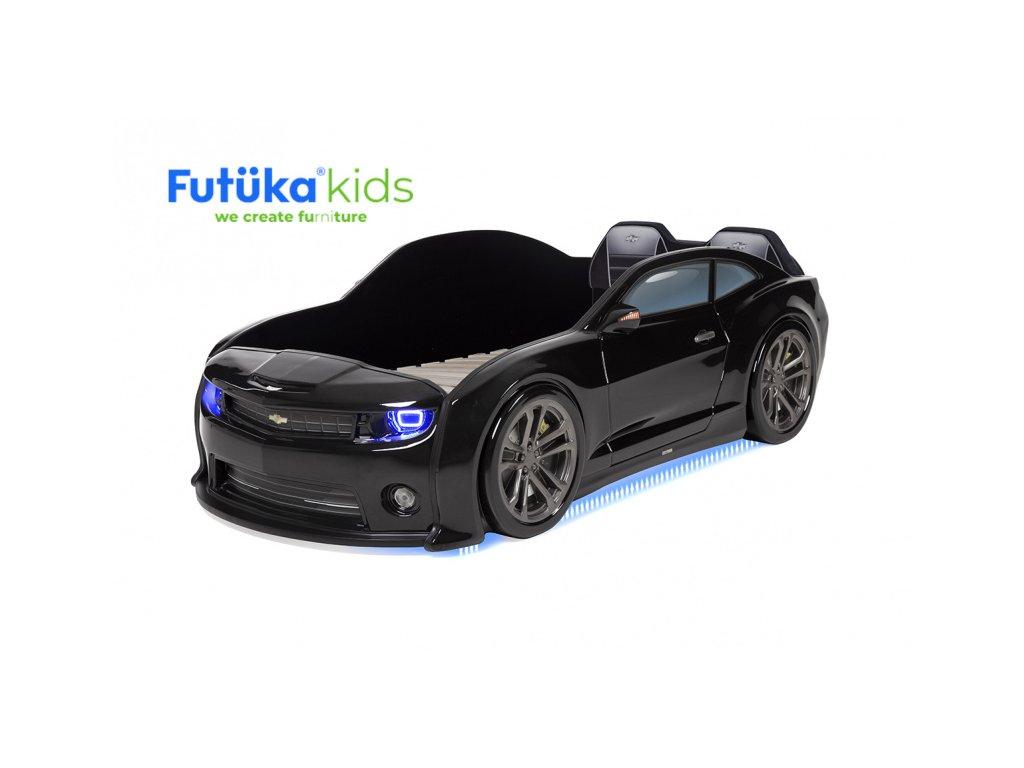 Dětská postel auto Futuka kids EVO CMR + LED světlomety + Spodní světlo + Měkké opěradlo ČERNÁ