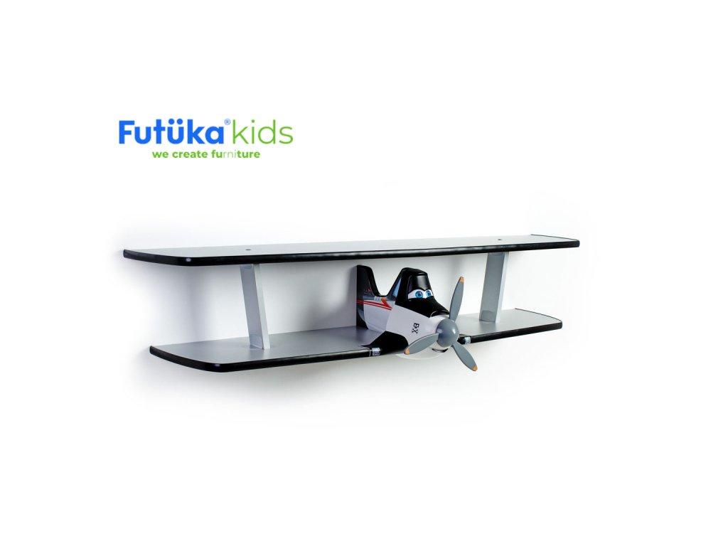 Dětská polička Futuka kids AIR-2 dvoupatrová BLACK