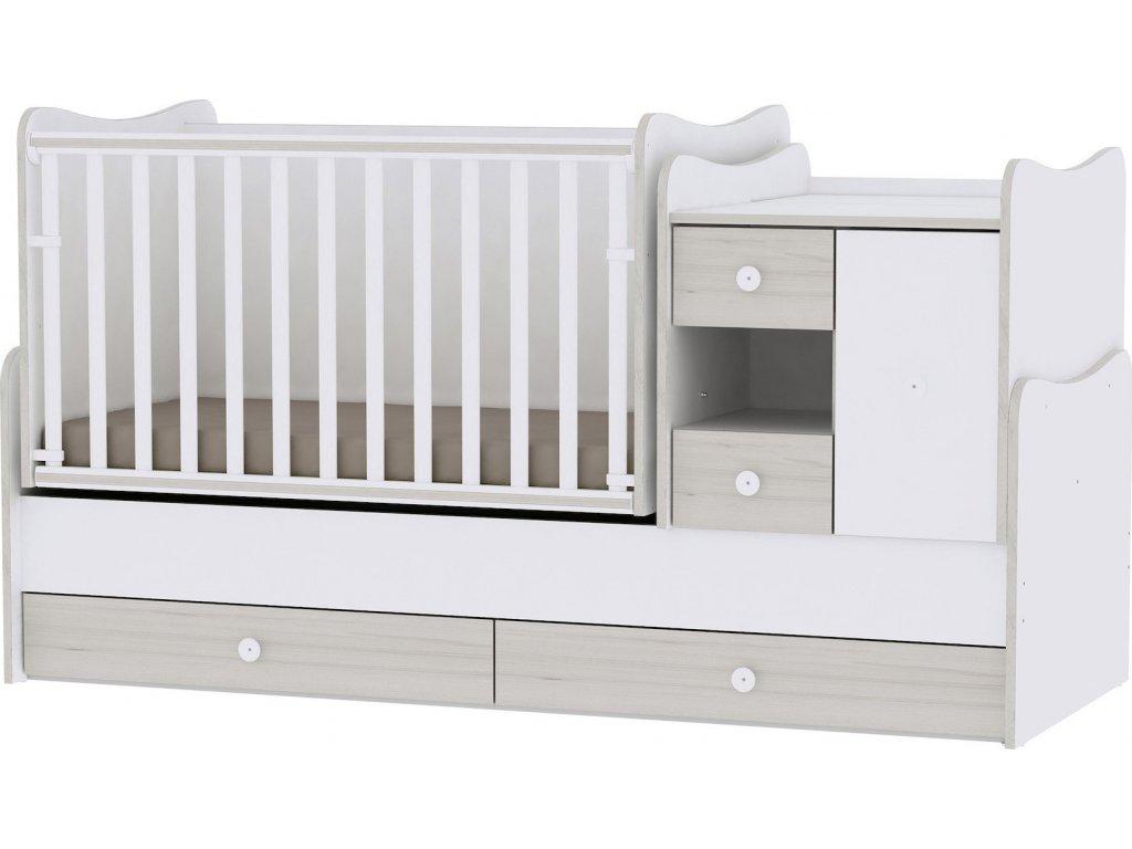Multifunkční dětská postýlka Lorelli MINI MAX New 190x72 WHITE/LIGHT OAK