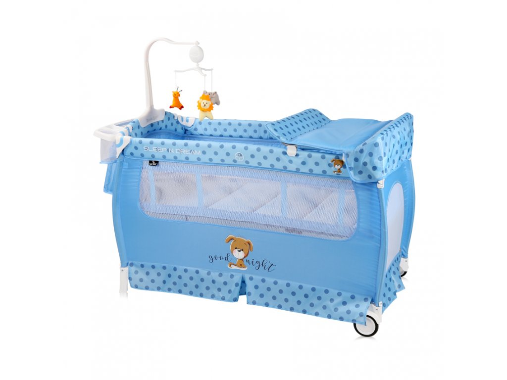 Cestovní postýlka a ohradka 2v1 Lorelli SLEEP'N'DREAM PLUS BLUE DOG