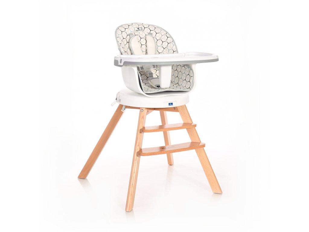 Jídelní židlička Lorelli s otočným sedákem NAPOLI GREY HEXAGONS