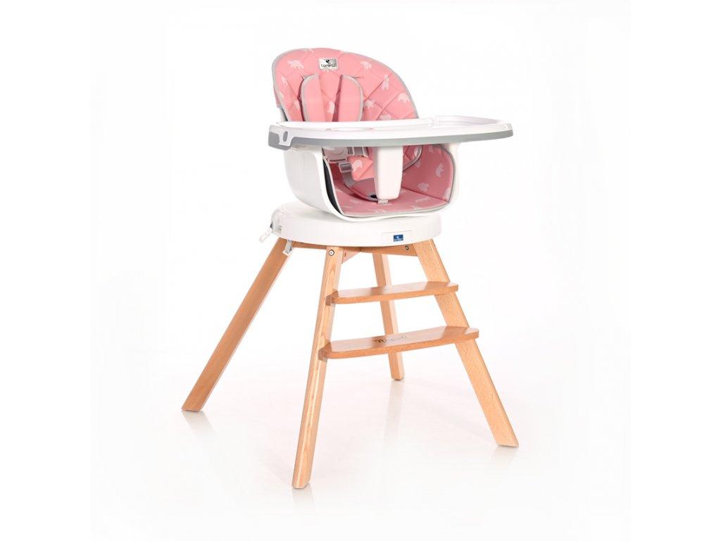 Jídelní židlička Lorelli s otočným sedákem NAPOLI PINK BEARS