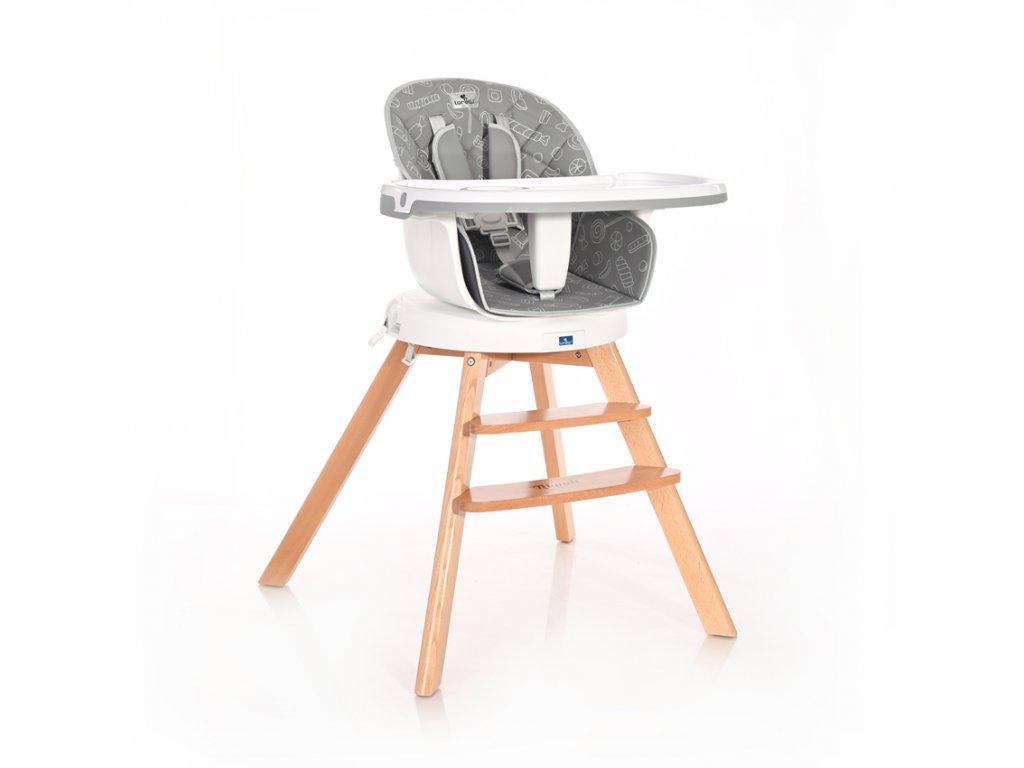 Jídelní židlička Lorelli s otočným sedákem NAPOLI GREY CANDY