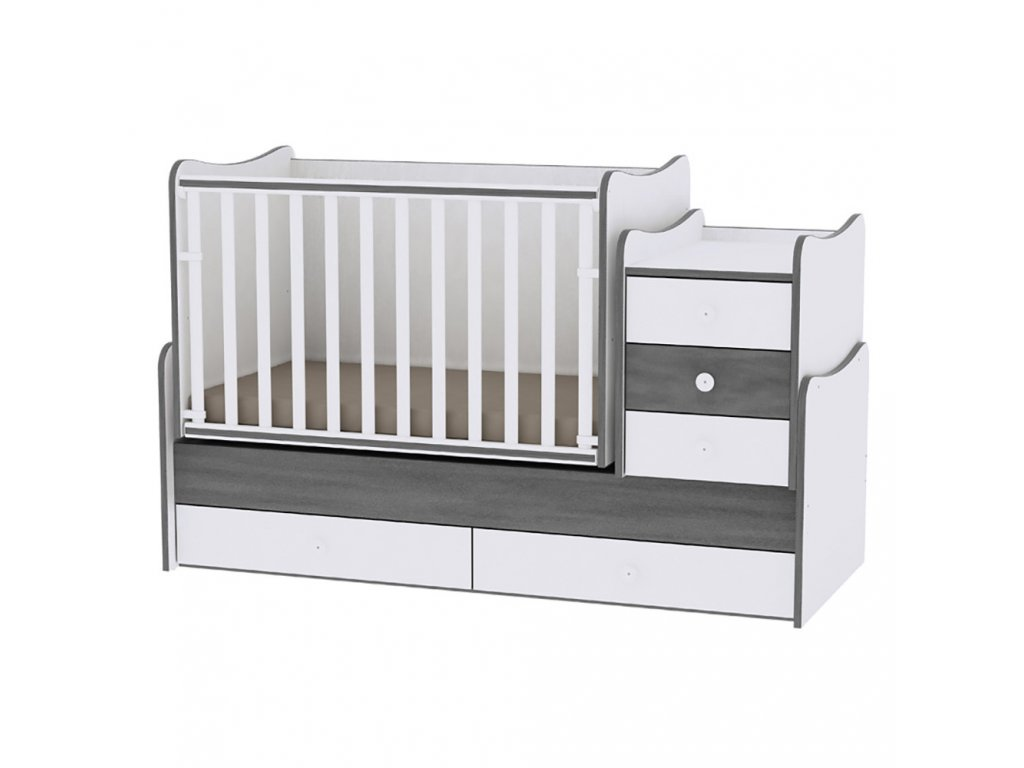 Multifunkční dětská postýlka Lorelli MAXI PLUS NEW 160x70 CM WHITE/VINTAGE GRAY