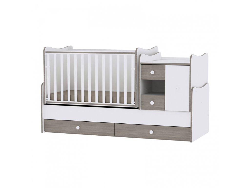 Multifunkční dětská postýlka Lorelli MINIMAX NEW 190x72 CM WHITE/COFFEE