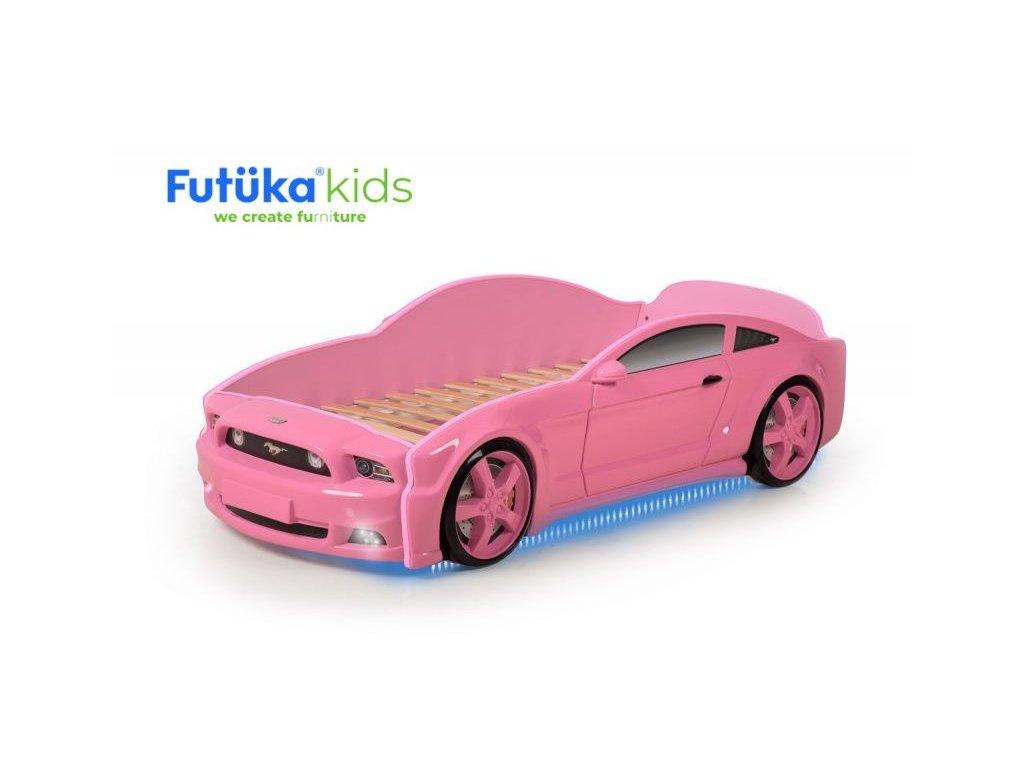 Dětská postel auto Futuka kids LIGHT 3D MG + LED světlomety + Spodní světlo RŮŽOVÁ