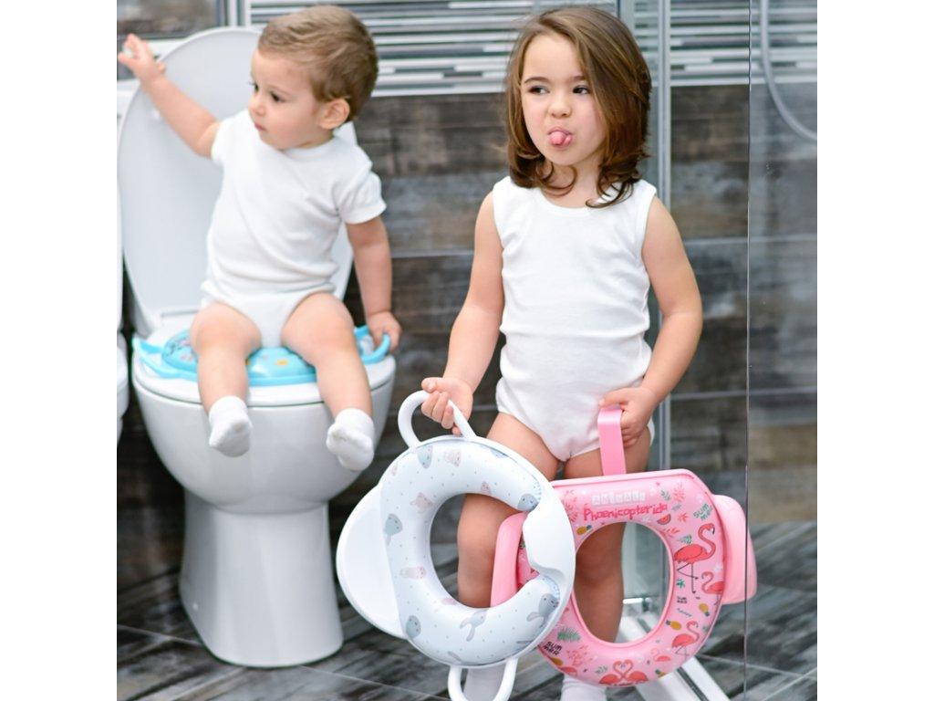 Měkké WC sedátko s opěrkou Lorelli pro děti MONKEY GREEN