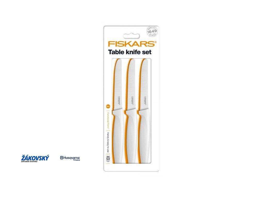 Set jedálenských nožov FISKARS, 3ks, biele