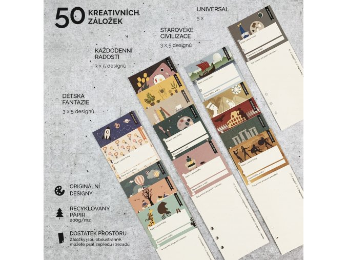 Doplňková sada kreativních knižních záložek 50ks