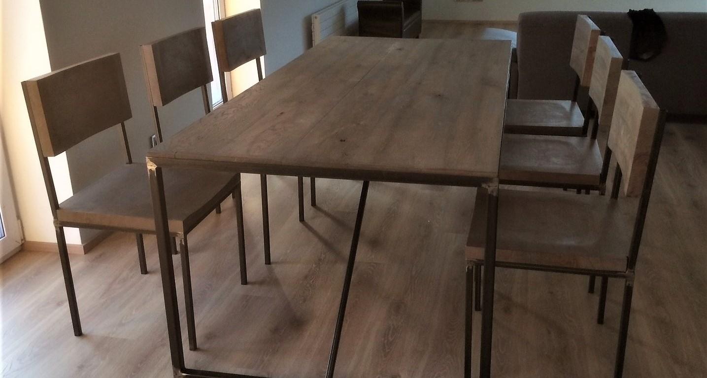industriální stůl + 6 židlí