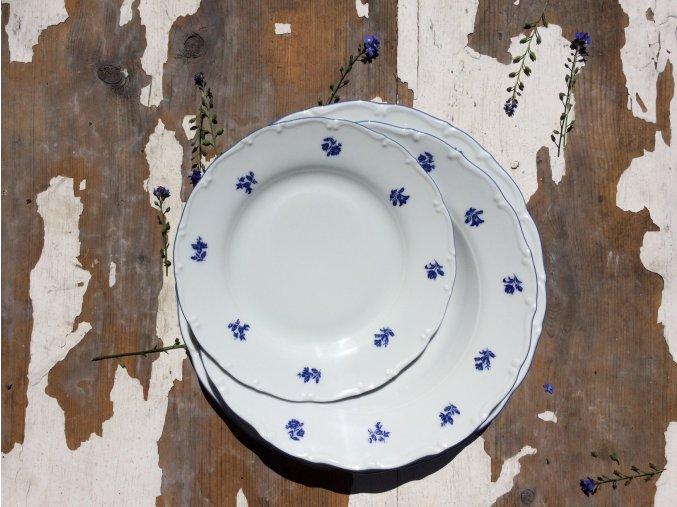 Modrá louka II - sada porcelánových talířů - 18 ks