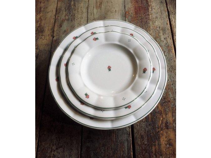 Babiččin porcelán - červené kvítky - sada 18 ks silnostěnných talířů