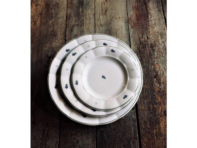 Babiččin porcelán - modré kvítky - sada 18 ks silnostěnných talířů