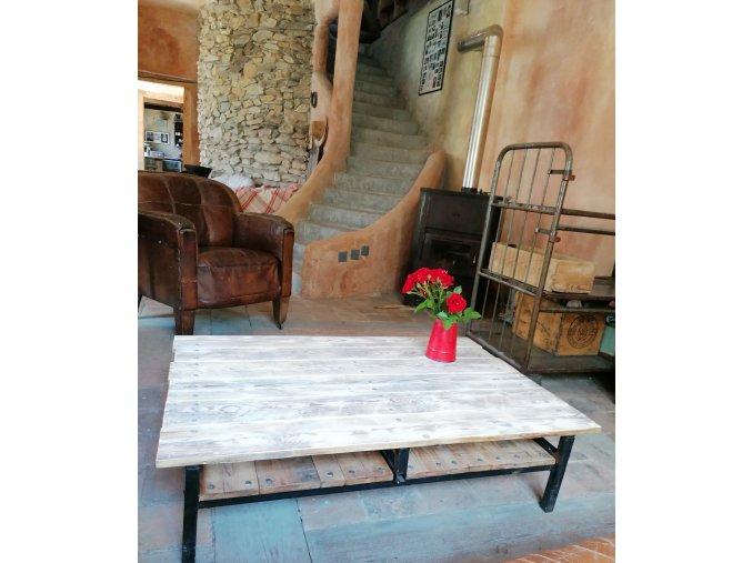 Industriální konferenční stolek - 2 ODKLÁDACÍ PLOCHY