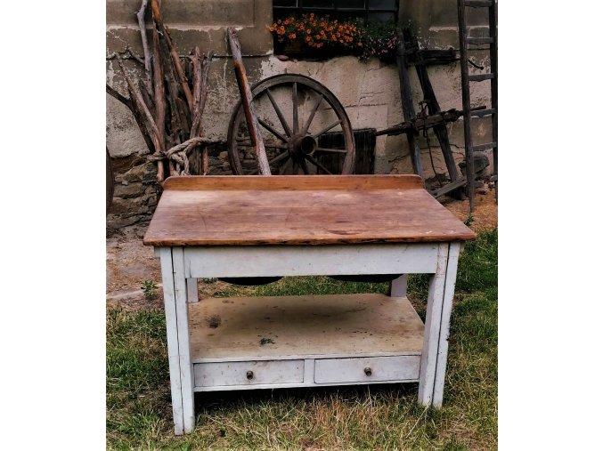 Masivní starý stůl se šuplíky Mirek