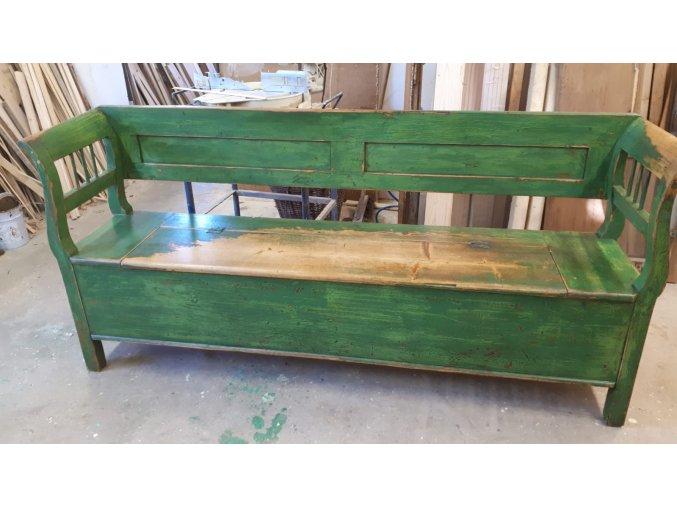 STARÁ MASIVNÍ LAVICE -  zelená s úložným prostorem_200 cm
