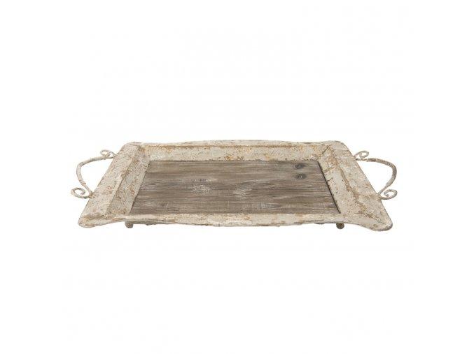 dreveny kovovy servirovaci podnos 65409 cm