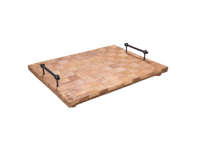 dreveny podnos s kovovymi rukojet mi 49368 cm