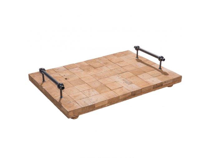 dreveny podnos s kovovymi rukojetmi 40288 cm