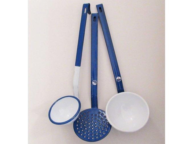 sada 3ks modrych smaltovanych naberacek white blue 8 10cm