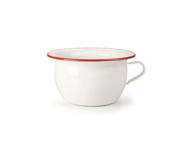 VENKOV - bílá smaltovaná mísa s uchem/ nočník 3,5 l, červený lem