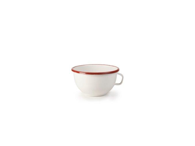VENKOV - bílá smaltovaná miska, s červeným lemem - 14 cm