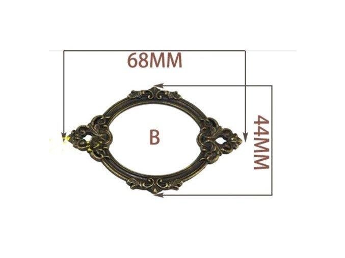 Kovový štítek -ozdobný -68 x 44 mm