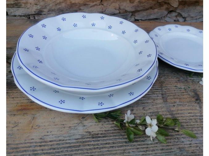 Babiččin porcelán - TEČKOKVÍTKY - sada tlustostěnných talířů - 18 ks