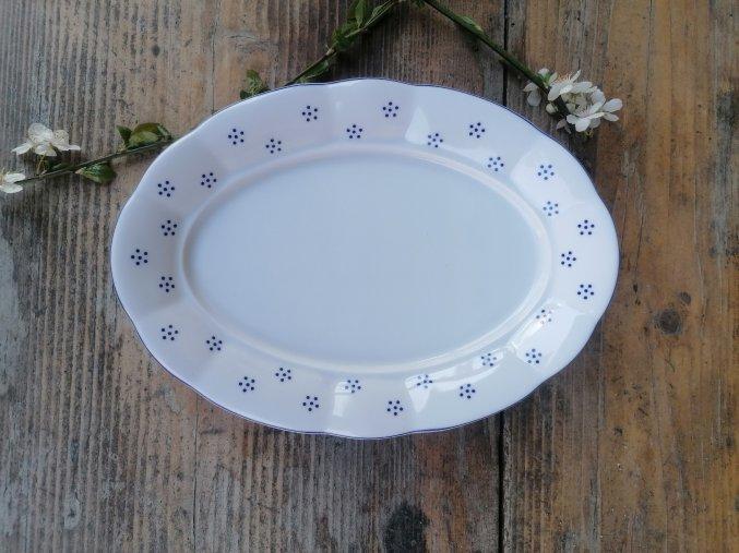 Babiččin porcelán - TEČKOKVÍTKY - tlustostěnný podnos ovál - 26 cm